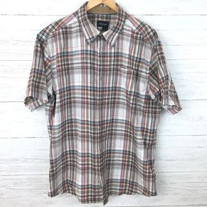 Marmot Men's Tan and Rust Plaid Shirt Button Front